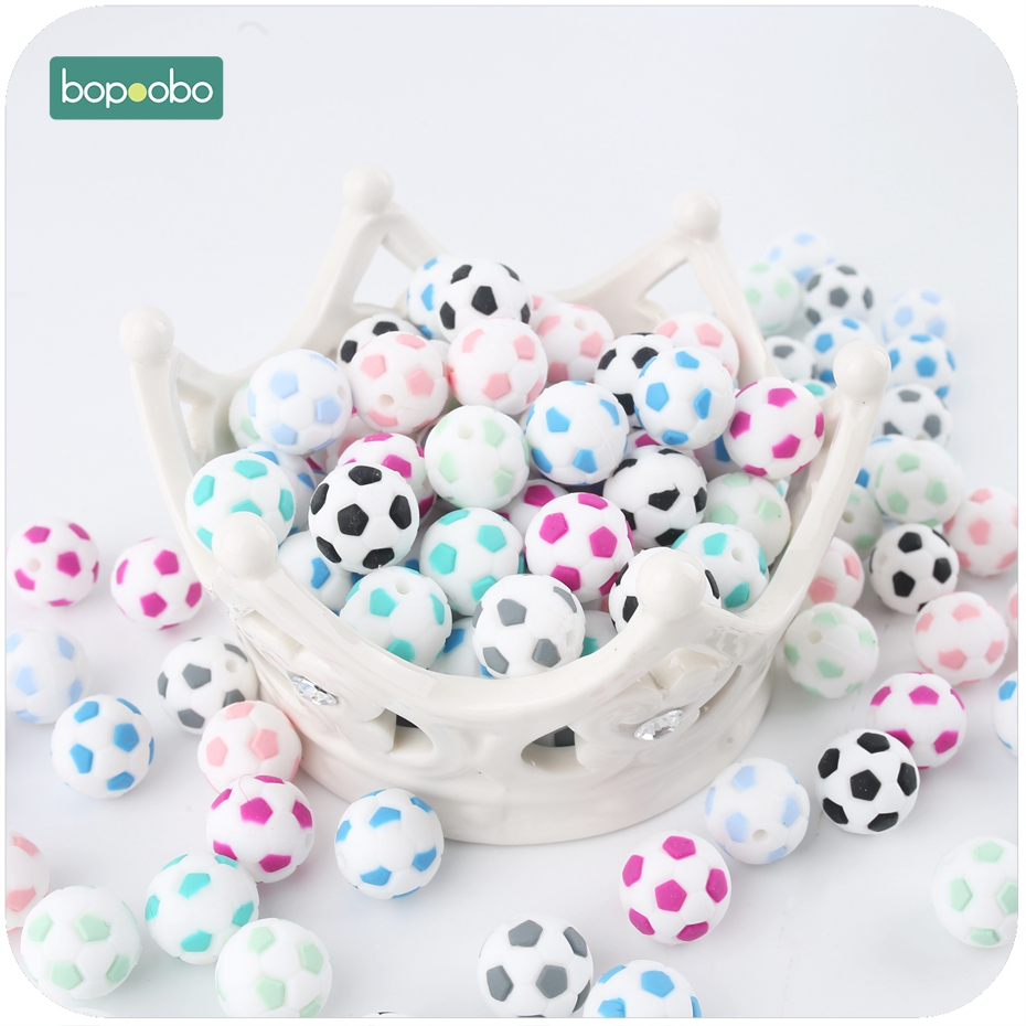 Bopoobo 5PC 15mm Lovely Silicone Football Beads Baby Shower Gift Soccer Beads Making Jewelry Necklace Beads Sensory Chewing Toy