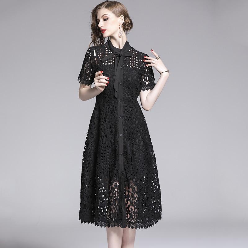 Elegant White Black Lace Hollow Out Dress 4