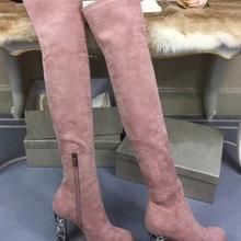 ee7073ee3 Moda mulher calcanhar pedaços de diamantes de couro real sobre o joelho  coxa botas altas preto