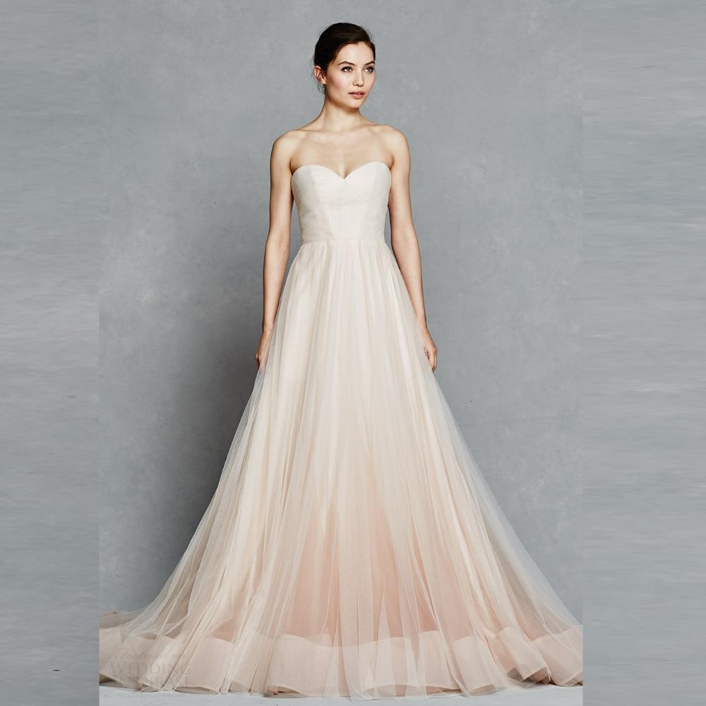 Champagne Color Wedding Dresses Vestidos De Noiva 2017: Simple Champagne Tulle Wedding Dresses 2017 Off The