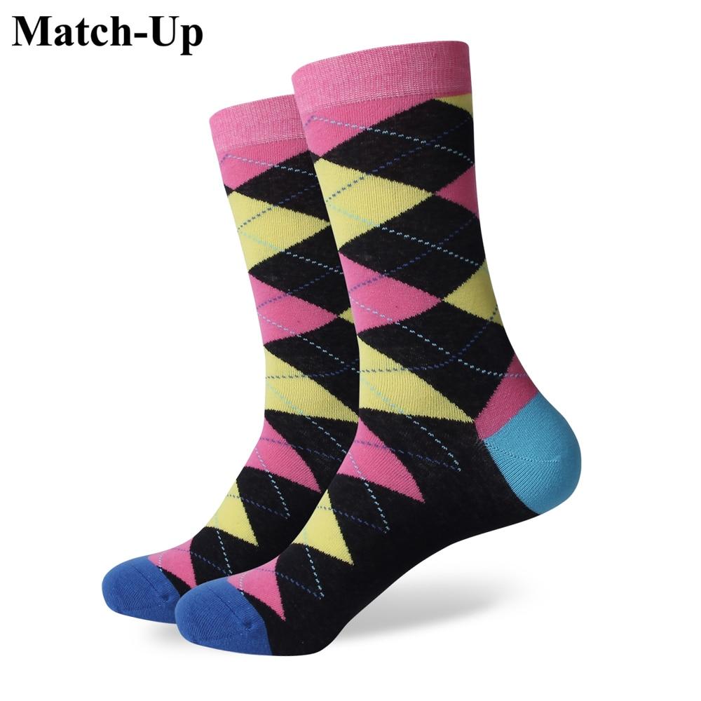 Match-Up (Style No. From 276-296) Velkoobchod Žádné logo pánské komedované bavlněné barevné ponožky Velikost US (7,5-12)