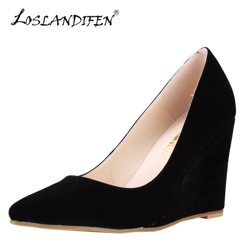 LOSLANDIFEN Plus Size 35-42 New Women Pumps High Heels Flock Wedges Pumps Black Nude Sexy Pointed Toe Wedding Party Shoes Woman new 2017 spring summer women shoes pointed toe high quality brand fashion womens flats ladies plus size 41 sweet flock t179