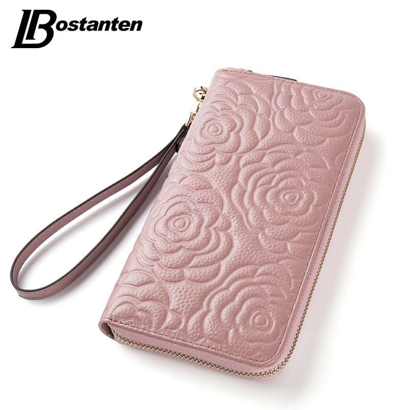 BOSTANTEN Floral Wallet Women Long Lady Clutch Wallet Large Genuine Leather Female Card Holder Wallets Coin Phone Purse Wristlet large capacity women wallet leather card coin holder money clip long clutch phone wristlet trifold zipper cash female purse