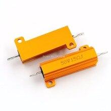 RX24 50W 15R 15RJ Metal Aluminum Case High Power Resistor Golden Metal Shell Case Heatsink Resistance Resistor 15 ohm 50w
