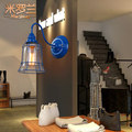 2016 new American retro industrial wind iron lamps European simple bedroom bedside balcony creative personality wall lamp