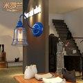 2016 new American retro vento industrial lâmpadas de ferro europeu simples quarto varanda cabeceira personalidade criativa lâmpada de parede