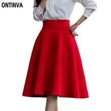 Rose Prints Skirts Womens Knee Length High Waisted Skirt 2015 Summer Flared Skort Floral Saia White Black Pink Colors