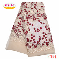 French Lace Fabric 2017 High Quality African 3D Applique Lace Fabric With Beaded Nigerian Lace Fabrics