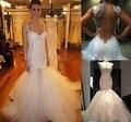 Atractivo de La Sirena Sin Respaldo Vestidos de Novia 2017 Robe De Mariage Apliques de Encaje de Novia Vestido de Novia de Tul Blanco Vestido De Novia