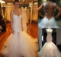 Sexy Mermaid Backless Wedding Dresses 2017 Robe De Mariage Appliques Lace Bridal Dress Sweetheart White Tulle Wedding Gown