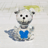 Blue Crystal Chirstmas Sale Decorative Animal Bear Thank You Return Gifts Deco Table Figurines Diamond Bow