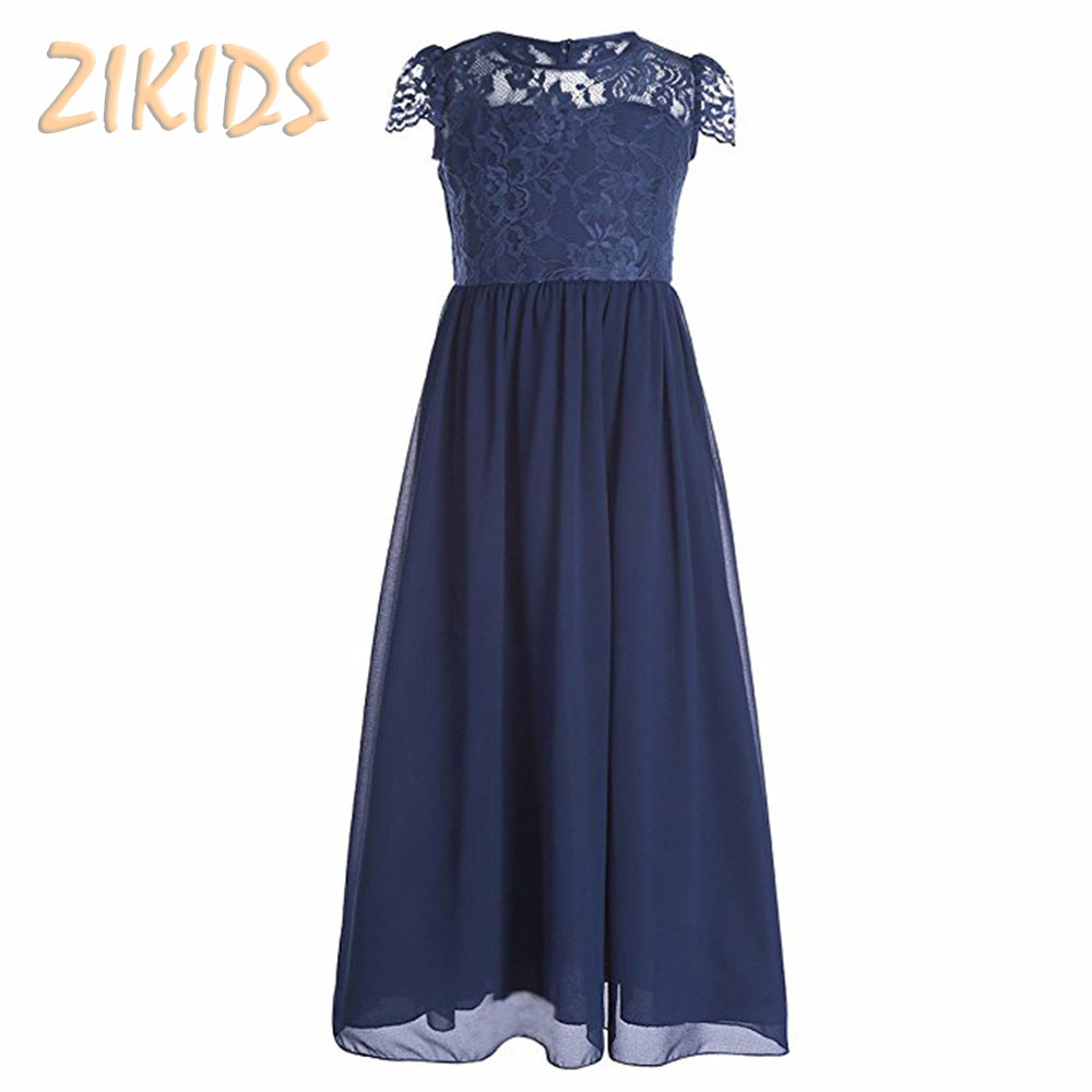 8-16Y Girls Formal Dresses Summer New Flowers Girl Dress for Wedding Evening Party Lace Princess Teenage Graduation Kid Clothes