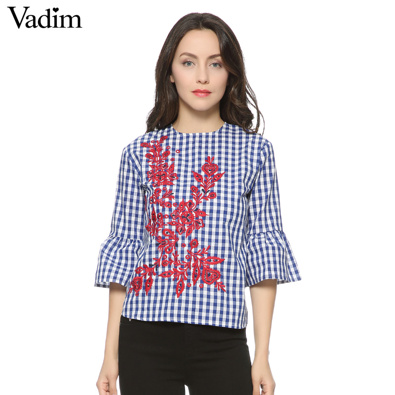 HTB1dMiwQFXXXXafXXXXq6xXFXXXe - Women floral embroidery plaid blouse sleeve loose shirts fashion