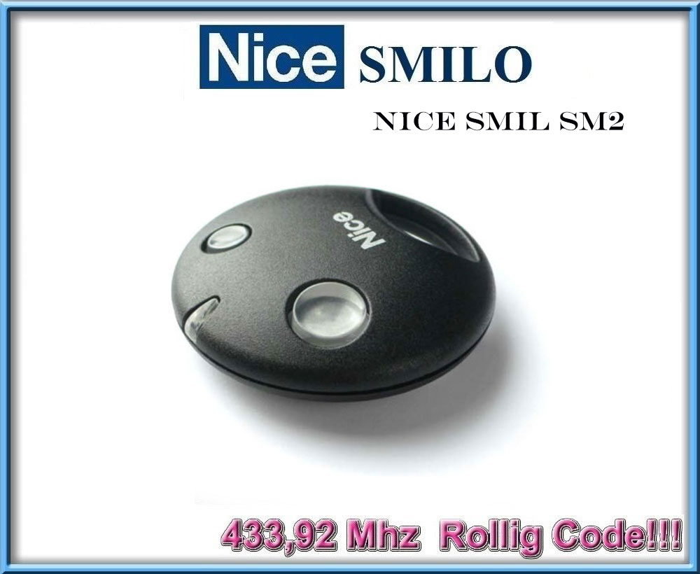 1pcs Nice SMILO SM2 remote control Garage Gate Transmitter- rolling code, 433,92 MHz v2 replacement remote control transmitter 433mhz rolling code top quality