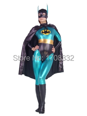Blue and Black Batgirl costume shiny metallic Batman zentai suit one piece full body batgirl superhero costume