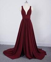 Длинные Бордовые Платья для подружки невесты V образным вырезом Свадебная вечеринка платье для женщин 2019