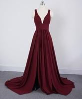 long Burgundy Bridesmaid Dresses V Neck Wedding Party Dress for Women 2019
