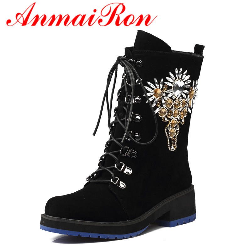 ANMAIRON New Fashion Style Autumn/Winter Women Boots Flock Mid-Calf Lace-Up Char Round Toe Square High Heels Classic Balck Shoes zorssar 2018 new fashion women boots genuine leather zipper round toe mid heels womens mid calf boots autumn winter women shoes