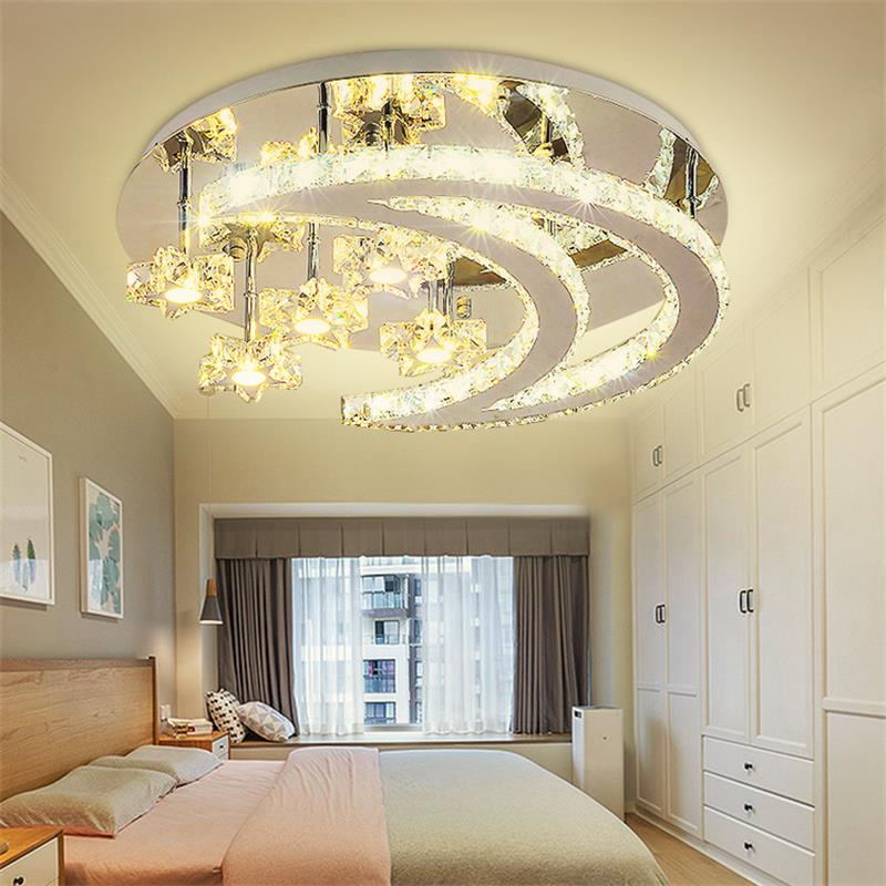 Modern Lustre Led Star Moon LED Ceiling Lamp K9 Crystal Ceiling Light Fixture Kit with Remote Control for Children Bedroom Decor