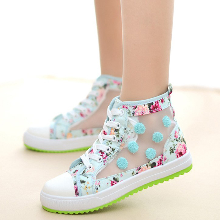 New Fashion Floral High Top Sneakers Women Canvas Sport -9376