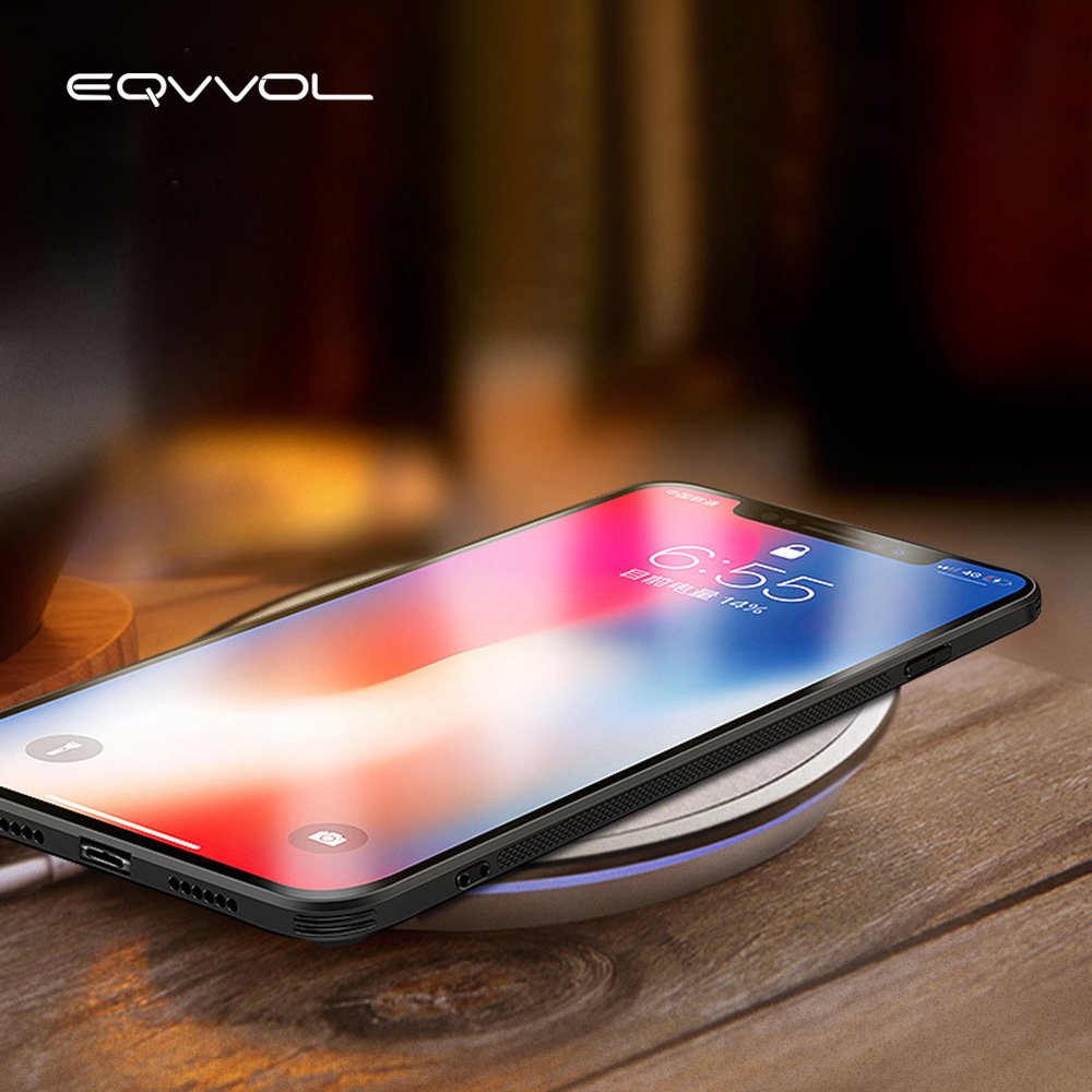 Eqvvol Tempered Glass Case For iphone X 8 7 Plus Hybrid Hard Glass + Soft TPU Mirror Gloss Back Cover For iPhone 6 6S Plus Capa