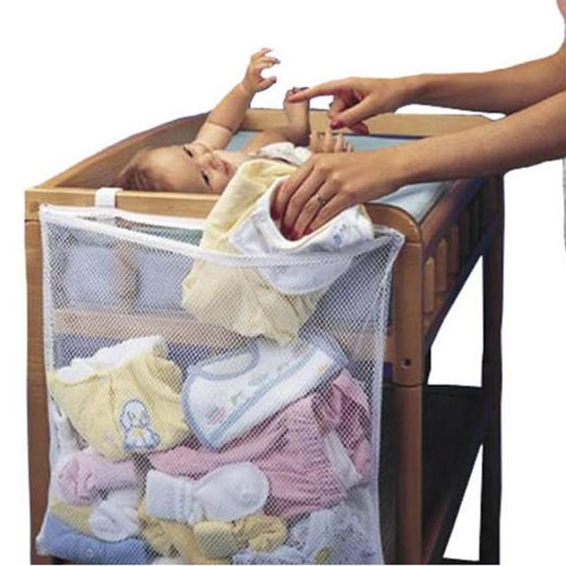 Mutifunction Storage Bag Baby Crib Large Bed Storage Pouch Breathable Bathroom Hanging Mesh Bath Toy Holder Bag Home Laundry Bag