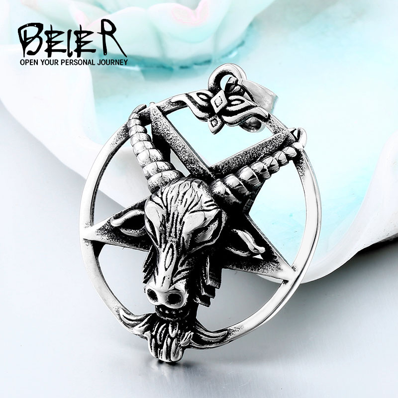 BEIER Fashion Pentagram Pan God Skull Goat Head Pendant Necklace Luck Satanism Occult Metal Vintage Star Necklace for ManBP8-342