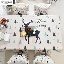 XYZLS Корейская мультяшная Милая скатерть с принтом оленя Рождественская хлопковая льняная прямоугольная скатерть для обеденного стола