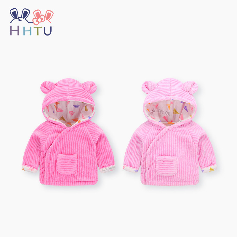 HHTU Baby Coat Warm Clothes Boys Girls Spring Winter Padded Cotton Newborn Jacket Children's Thickening Outerwear Pink Hooded joobox brand men winter jacket mens casual detachable hooded cotton padded coat male thickening warm clothing black and gray