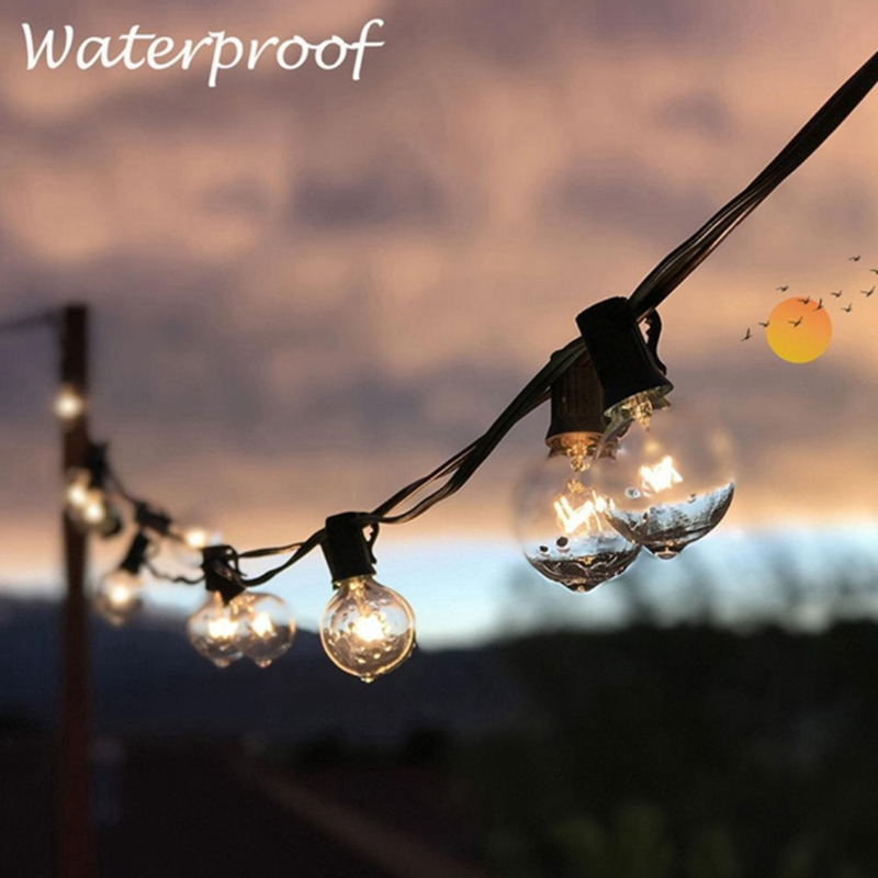 7.5M 25 LED String Light Outdoor 25Ft G40 Bulb Globe String Lights For Indoor Outdoor Light Decoration For Garden Patio Party