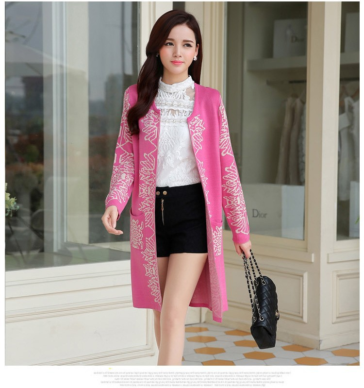 Romantic Style Autumn Ladies Soft Long Wool Cardigan Sweater For Women Pretty Deisgn Pattern Jacquard Cardigans Sweaters Knitting Coat Female bbbbb