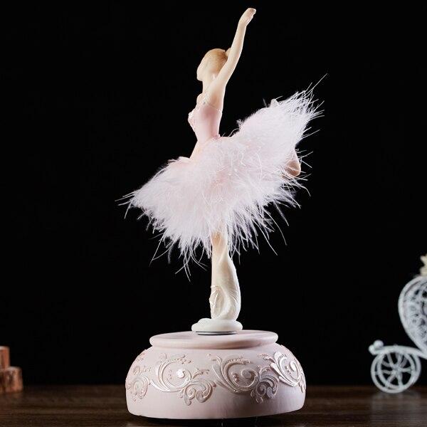 Ballerine rose aquatique boite à musique blanche Ballet fille rotative boite à musique jupe plume carrousel 3 dmariage cadeau d'anniversaire pour filles - 3