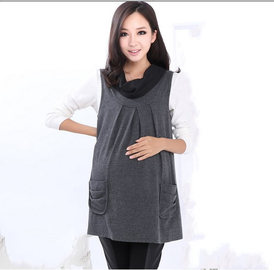 96752dc0bf0 2015 maternity dress women spring dresses woolen o neck nursing cloth  pregnant casual fashion sleeveless tank clothing A3ag
