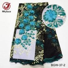도매 beaded 레이스 원단 고품질 3d 꽃 자수 레이스 티슈 아름다운 아프리카의 레이스 원단을위한 직물 BGW-37