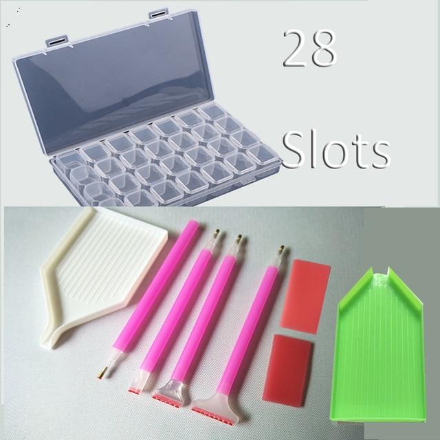 28 сетка Алмазная вышивка коробка, Хрустальная ручка, клей, пластиковый лоток алмазные аксессуары для рисования коробки для хранения крестообразные инструменты для шитья RB04