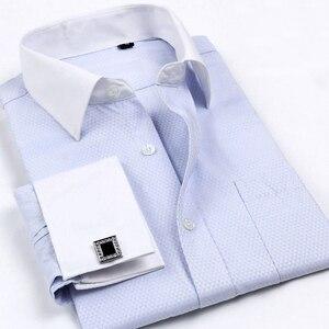 Mężczyźni francuski spinki do mankietów koszule 2017 nowych męska z długim rękawem marka smokingi koszule Regular Fit francuski mankiet sukienka koszule dla mężczyźni