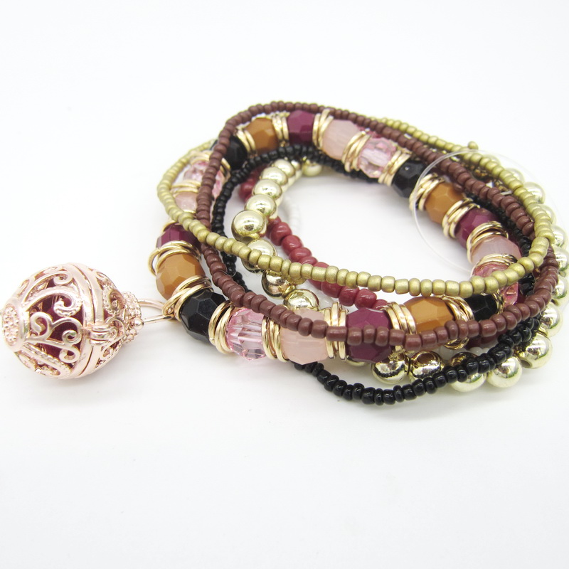 New Multi Strands Seed Bead Faceted Acrylic Beads with DIY Locket Box Felt Ball Ethnic Essential Oil Women`s Diffuser Bracelet