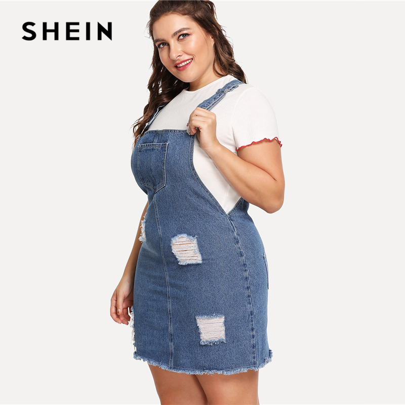 SHEIN Hem Distressed Denim Overall Dress 2018 Summer Straps Sleeveless Ripped Clothing Women Plus Size Casual Denim Dress 2