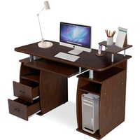 Gorgeous Durable MDF Construction Office Computer Desk Monitor Shelf Large Storage Space Slide Out Keyboard TrayTable HW49511