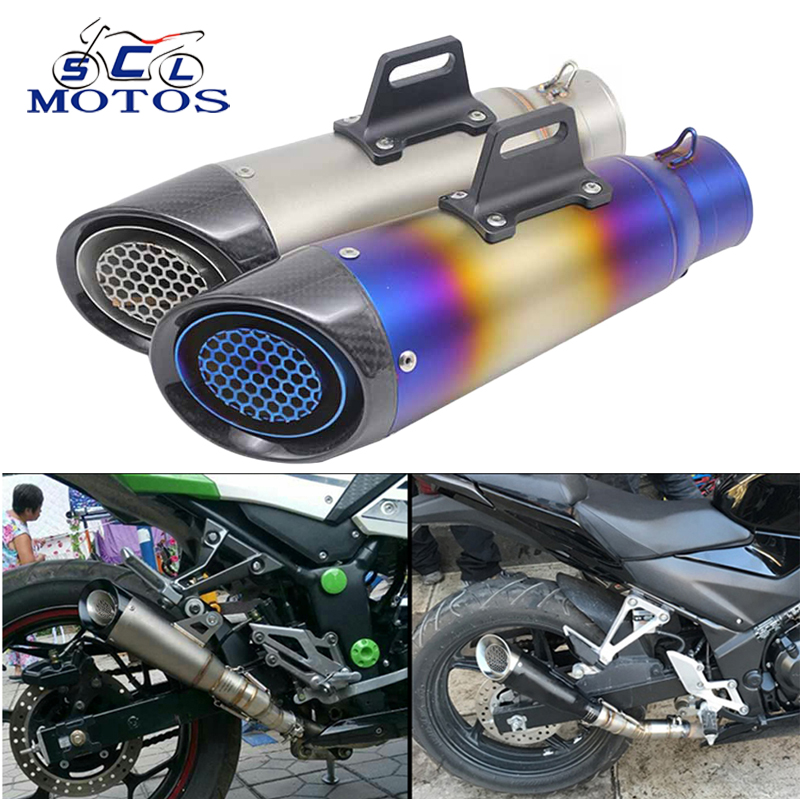 Sclmotos -60mm Inlet Motorcycle Exhaust Muffler SC Exhaust Escape Moto Racing Motorbike ATV Scooter MT07 MT09 NINJA TMAX530 CBR modified akrapovic exhaust escape moto silencer 100cc 125cc 150cc gy6 scooter motorcycle cbr jog rsz dirt pit bike accessories