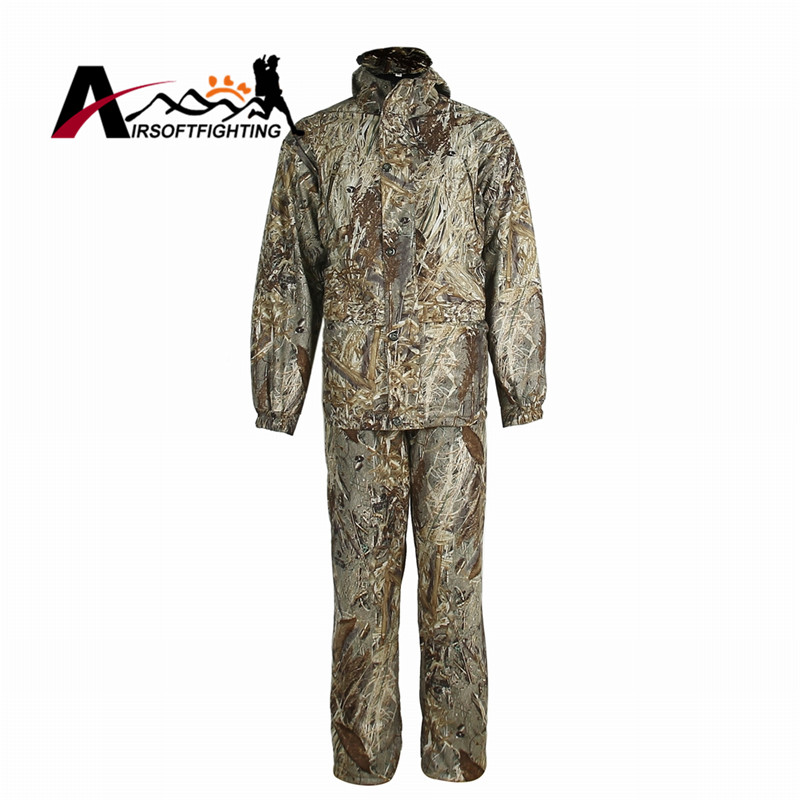 Tactical Outdoor Reed Bionic Waterproof Uniform Shirt & Pants Military Paintball Hunting Shooting Wargame Camouflage Clothes XL