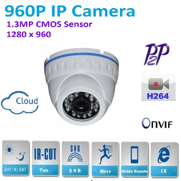 New type 1280*960P 1.3MP Mini Dome 960P IP Camera indoor ONVIF H.264 P2P Indoor IR CUT Night Vision Easy Plug and Play, 4 in 1 ir high speed dome camera ahd tvi cvi cvbs 1080p output ir night vision 150m ptz dome camera with wiper