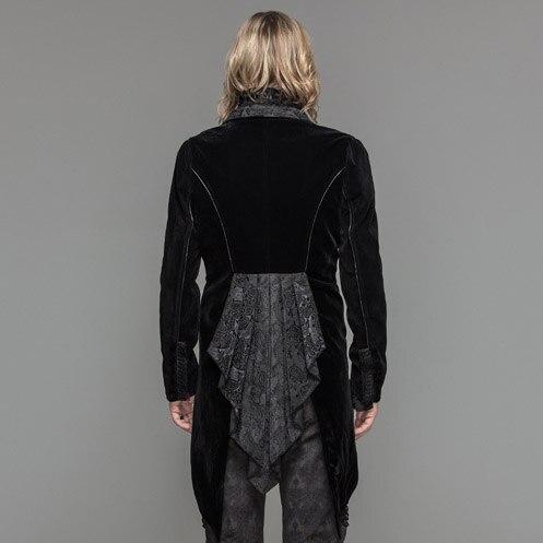 Дьявол Мода готическое мужское платье куртка стимпанк Черный Красный одной кнопки пальто ласточкин хвост Вечеринка ласточкин хвост пальто - 3