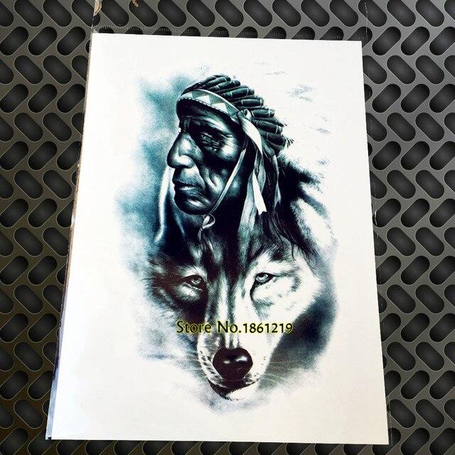 1 Pc Vieil Homme Indien Avec Loup Totem Tatouage Temporaire Pour