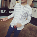 The fall of new men's shirt s casual stripes men's fashion large size long sleeved shirt young male