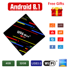 Android TV Box H96 Max Plus Android 8.1 OS 4G RAM 32G ROM RK3328 Quad Core 2.4G WIFI Smart TV Box USB 3.0 H.265 4K Media Player