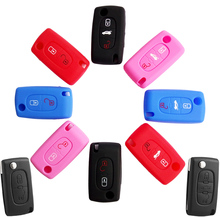 2/3 Button Silicone Key Cover Case Fob Holder Fit For Citroen Xsara Picasso C2 C3 C4 C5 C6 C8 For Peugeot 107 206 207 307 308