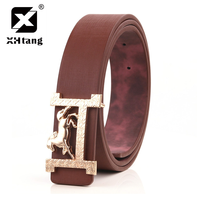 XHTANG Brand H Designer Luxury Brand Belts for Mens PU Faux Leather Male Women Fashion Jeans Vintage High Quality Strap Waist