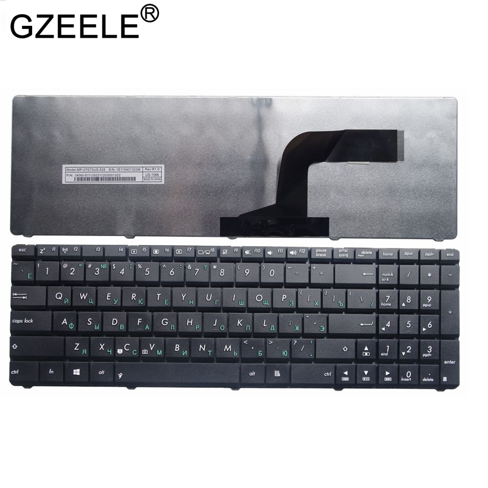 GZEELE NEW Black RU Layout Laptop Keyboard For Asus X72JT X72JK X72JR X72JT X72JU X55SV X55U X55VD P53 P535 P53E Russian Black