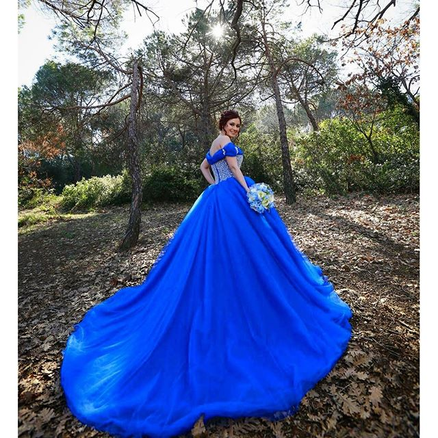 Annbridal Ywd434 Elegant Off The Shoulder 1m Long Tail Heavy Beaded Puffy Tulle Ball Gown Princess